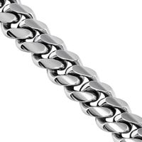 14K White Solid Gold Mens Cuban Chain 7 mm