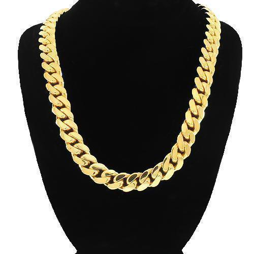 14K-Yellow-Solid-Gold-Mens-Cuban-Link-Chain-8-mm-16-inches---87-7-grams
