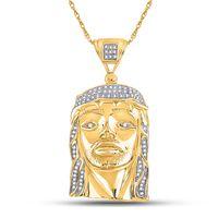Yellow-tone Sterling Silver Mens Round Diamond Jesus Face Christ Charm Pendant 1/4 Cttw