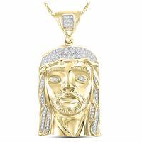 Sterling Silver Mens Round Diamond Jesus Face Christ Charm Pendant 1/4 Cttw