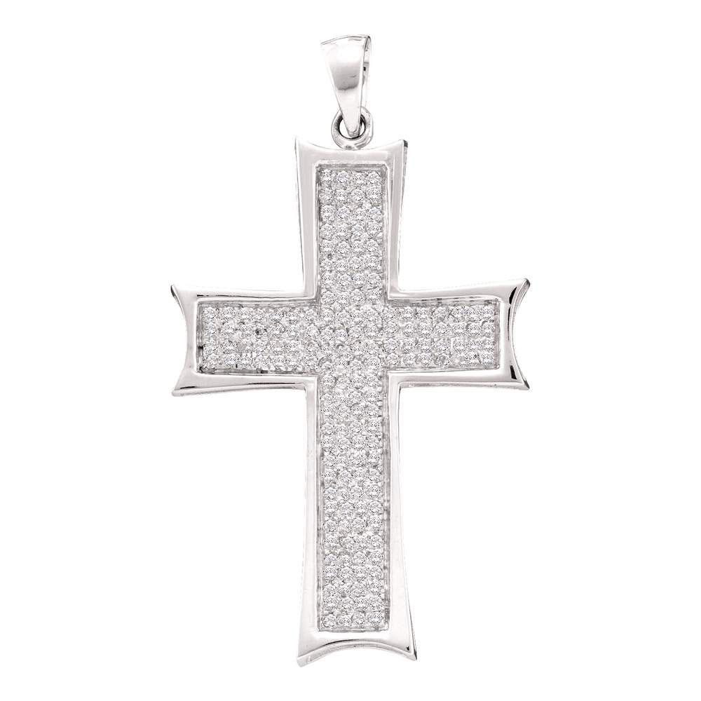 10kt-white-gold-mens-round-diamond-flared-roman-cross-charm-pendant-1-2-cttw-54453