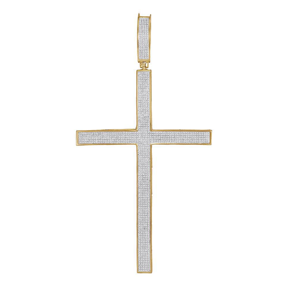 10kt-yellow-gold-mens-round-diamond-roman-cross-large-charm-pendant-2-00-cttw-70354