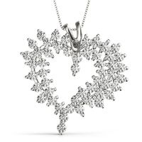 14K White Gold Heart Diamond Pendant