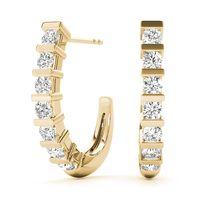 14K Yellow Gold Hoop Diamond Earring