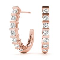 14K Rose Gold Hoop Diamond Earring