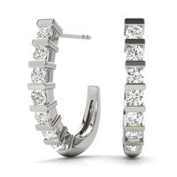 14K White Gold Hoop Diamond Earring