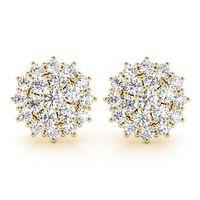 18K Yellow Gold Halo Diamond Earring