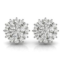 14K White Gold Halo Diamond Earring
