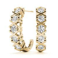 18K Yellow Gold Hoop Diamond Earring