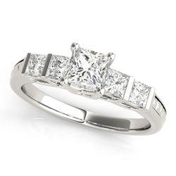 14K White Gold Pave Princess Diamond Engagement Ring