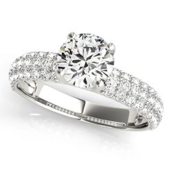 14K White Gold Pave Round Diamond Engagement Ring