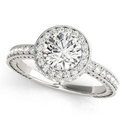 Pavé Halo Diamond Engagement Ring in 14k White Gold
