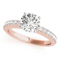 18K Rose Gold Single Row Diamond Engagement Ring