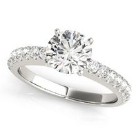 14K White Gold Single Row Diamond Engagement Ring