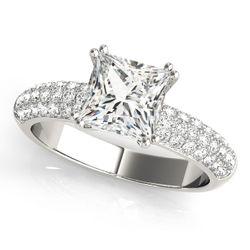 14K White Gold Pave Cushion Shape Diamond Engagement Ring