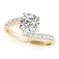 14K Yellow Gold Bypass Diamond Engagement Ring