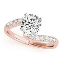 18K Rose Gold Bypass Diamond Engagement Ring