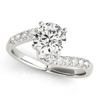 14K White Gold Bypass Diamond Engagement Ring