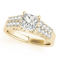 14K Yellow Gold Pave Diamond Engagement Ring