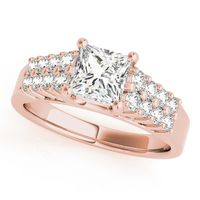 18K Rose Gold Pave Diamond Engagement Ring
