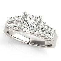 14K White Gold Pave Diamond Engagement Ring