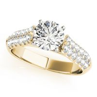 14K Yellow Gold Designer Diamond Engagement Ring