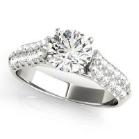 14K White Gold Designer Diamond Engagement Ring