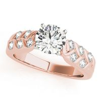 18K Rose Gold Multirow Diamond Engagement Ring