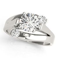 14K White Gold Solitaires Diamond Engagement Ring