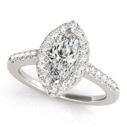 14K White Gold Halo Marquise Shape Diamond Engagement Ring
