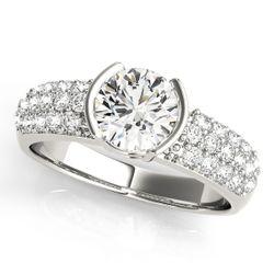 14K White Gold Pave Round Shape Diamond Engagement Ring