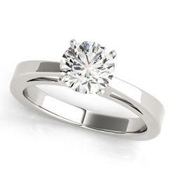 14K White Gold Solitaire Round Shape Diamond Engagement Ring