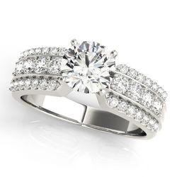 14K White Gold Multirow Round Shape Diamond Engagement Ring