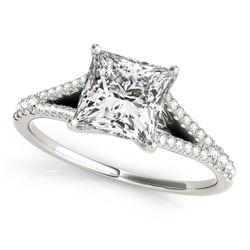 14K White Gold Multirow Princess Shape Diamond Engagement Ring