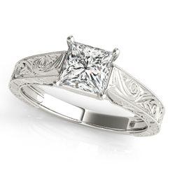 14K White Gold Trellis Princess Shape Diamond Engagement Ring