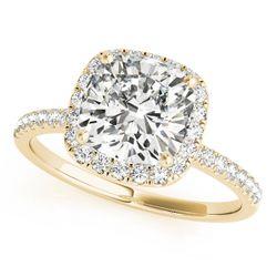 14K Yellow Gold Halo Cushion Shape Diamond Engagement Ring