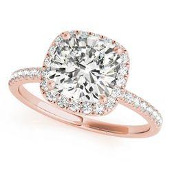 14K Rose Gold Halo Cushion Shape Diamond Engagement Ring