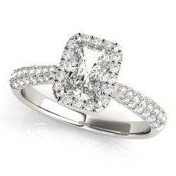 14K White Gold Pave Emerald Shape Diamond Engagement Ring