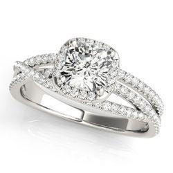 14K White Gold Multirow Cushion Shape Diamond Engagement Ring