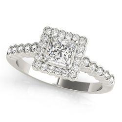 14K White Gold Vintage Cushion Shape Diamond Engagement Ring