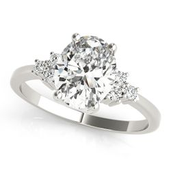 14K White Gold Side Stone Oval Shape Diamond Engagement Ring
