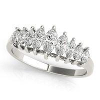 14K White Gold Fancy Shape Diamond Wedding Ring