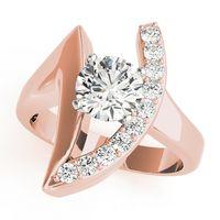 14K Rose Gold Designer Diamond Engagement Ring