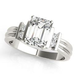 14K White Gold Solitaire Emerald Shape Diamond Engagement Ring