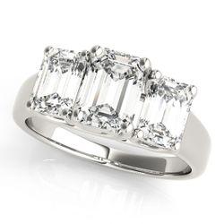 14K White Gold Three Stone Emerald Shape Diamond Engagement Ring