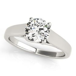 14K White Gold Trellis Round Shape Diamond Engagement Ring
