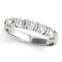 14K White Gold Bar Set Diamond Wedding Ring