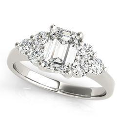 14K White Gold Side Stone Emerald Shape Diamond Engagement Ring
