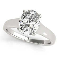 14K White Gold Trellis Oval Shape Diamond Engagement Ring