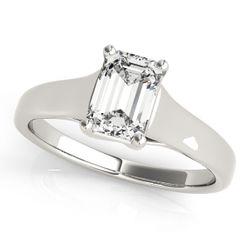 14K White Gold Trellis Emerald Shape Diamond Engagement Ring